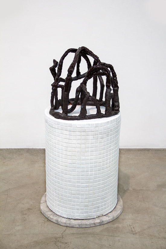 Glazed ceramic sculpture on tile and marble pedestal